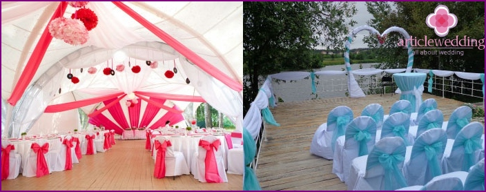 Colorful marquee for wedding celebration.