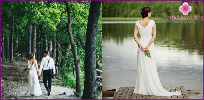 Wedding photo session near the forest