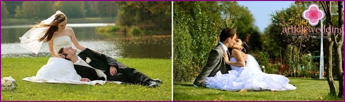 Angenehme Momente der Hochzeit im Juli