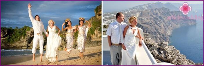 Jungvermählten für eine Hochzeit im Juli