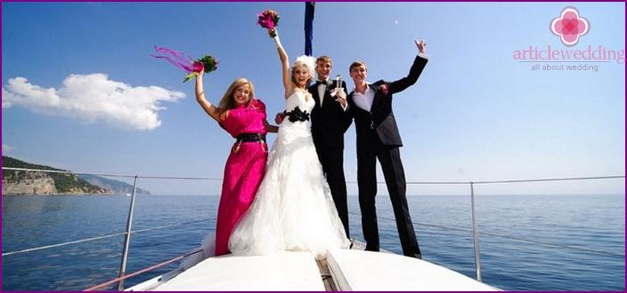 Wedding ceremony on the Neva