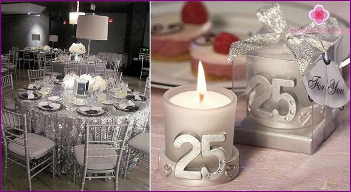 Banquet Decoration Elements for Silver Wedding