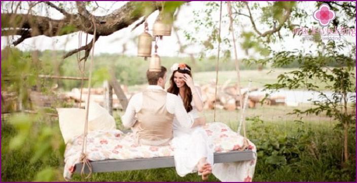 Economy wedding in nature