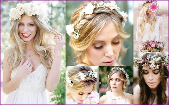 Fashionable hairstyles of the bride with fresh flowers