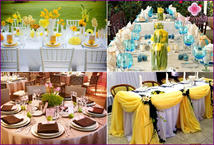 Decoration of the banquet hall for the May wedding