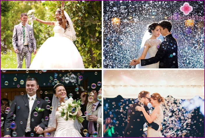 Wedding photo session of the newlyweds: the magic of bubbles