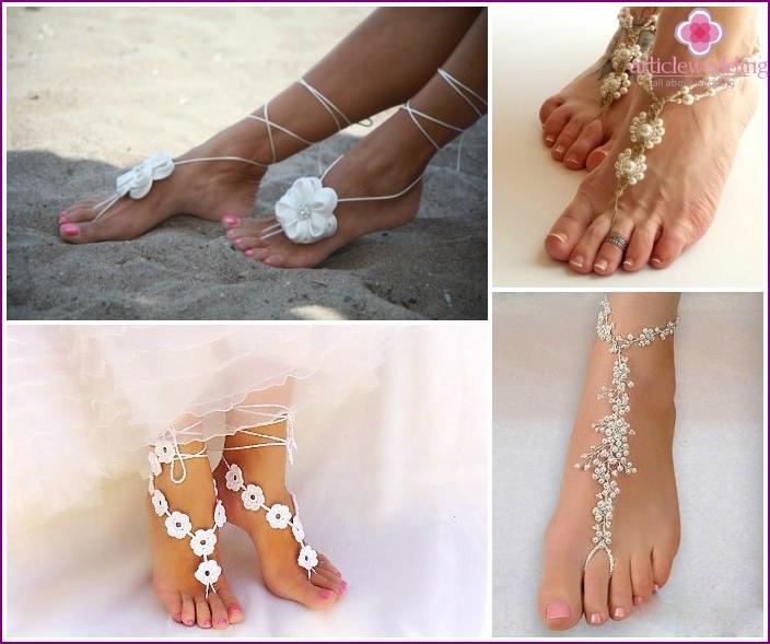 Fußdekoration für Strandhochzeitswandbild