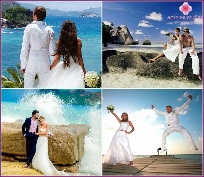 Wedding photo session in the tropics in the Seychelles