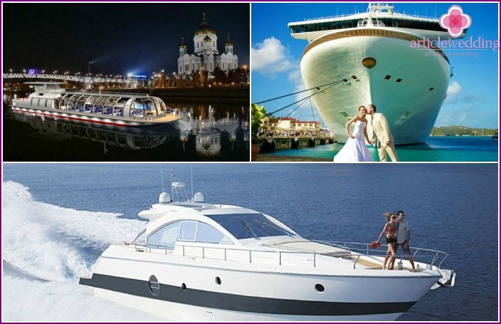 Types of water transport for a wedding