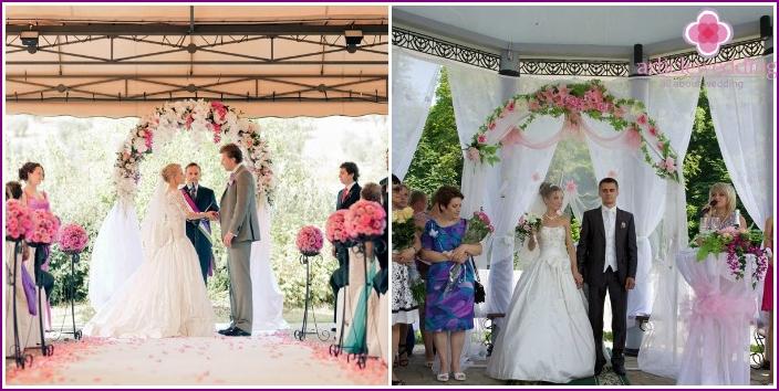 Wedding ceremony in the gazebo at the restaurant
