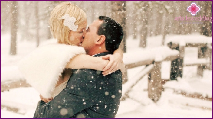 Snowy weather for March wedding