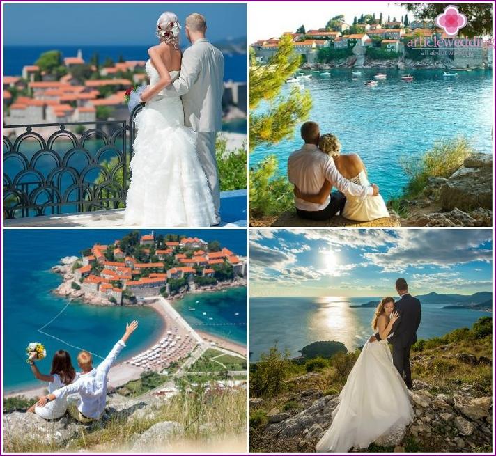 Wedding ceremony on the island of St. Stephen, Montenegro