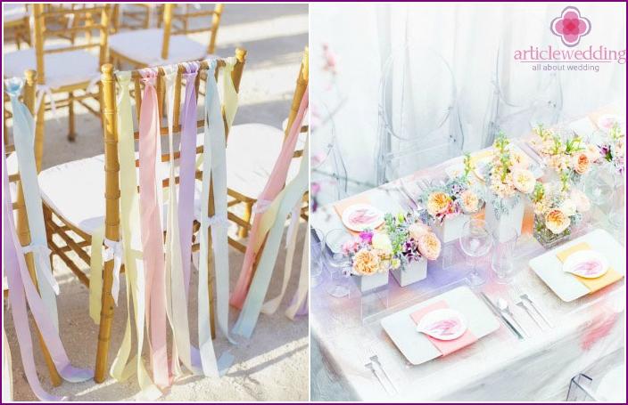 Pastelltöne einer Hochzeitsfeier