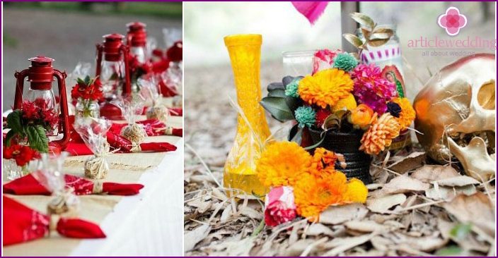 Bright colors of the wedding event
