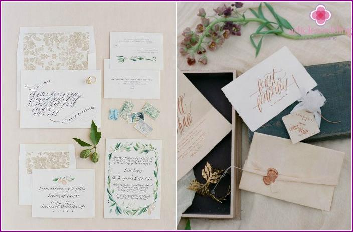 Calligraphic elements of wedding printing.