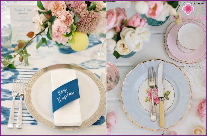 Individual wedding banquet table setting