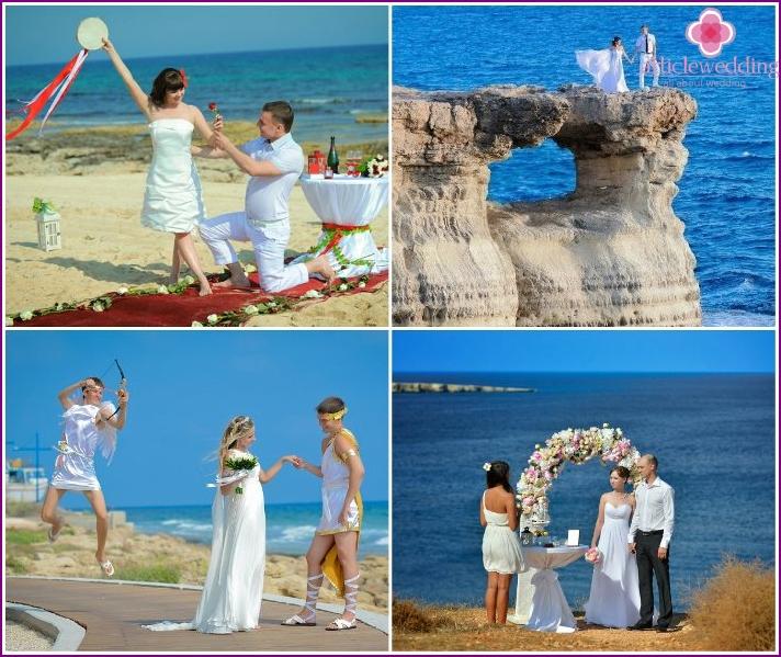 Hochzeitszeremonie in Protaras auf der Insel Zypern