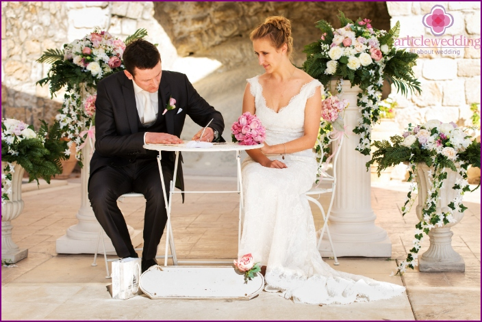 The official registration of marriage in Cyprus