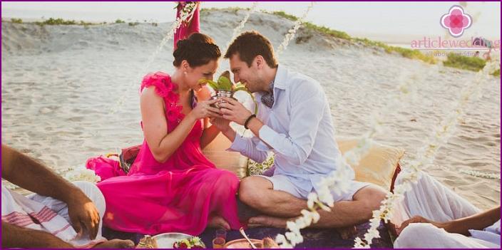 Symbolic wedding ceremony in Indian style.