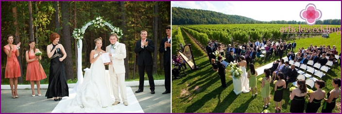 European wedding in nature without a host