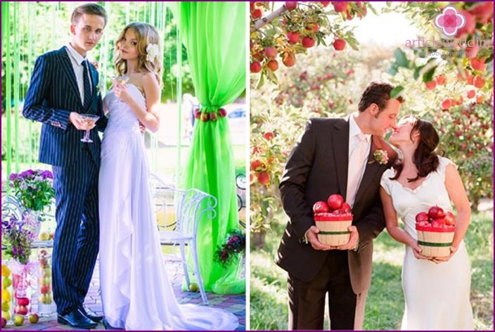 Szenario des Haltens einer Hochzeit auf einem Fruchtthema
