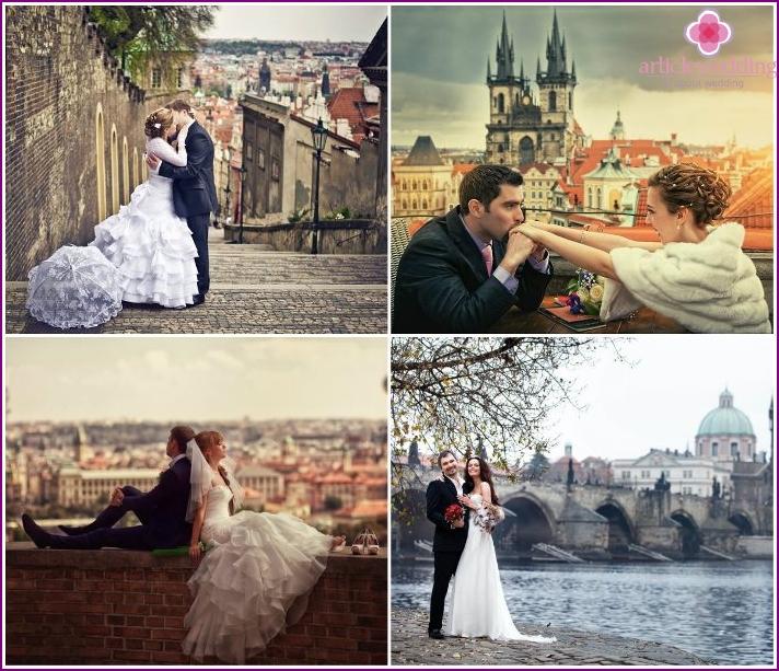 Die Straßen von Prag sind für ein Hochzeitsfoto-Shooting angelegt