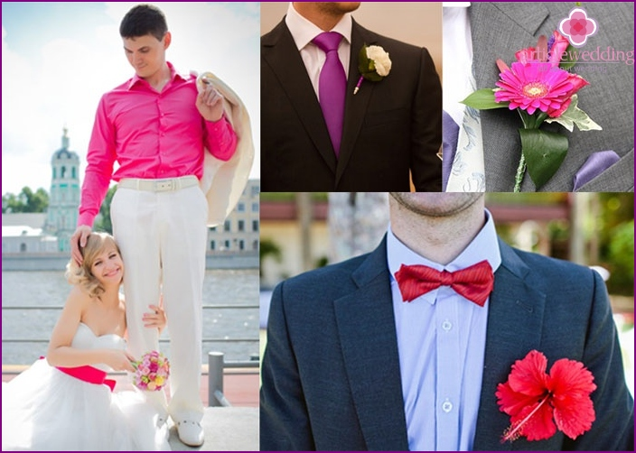 Groom's wedding dress in raspberry color