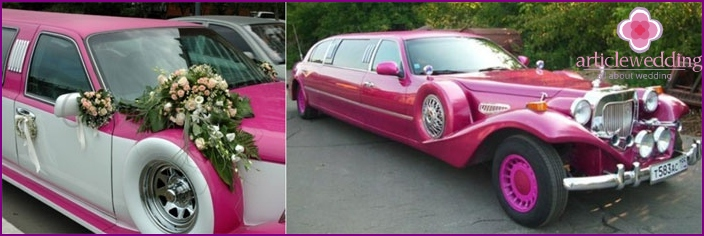 Car for newlyweds on a raspberry wedding