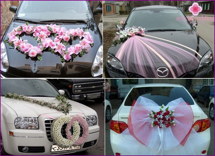 Decorating a motorcade for a raspberry wedding
