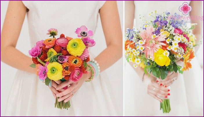 Bright bouquets for the bride