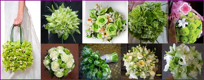 Lime bouquet of the bride