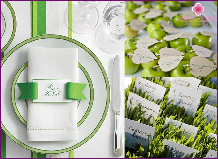 Cards for light green wedding guests