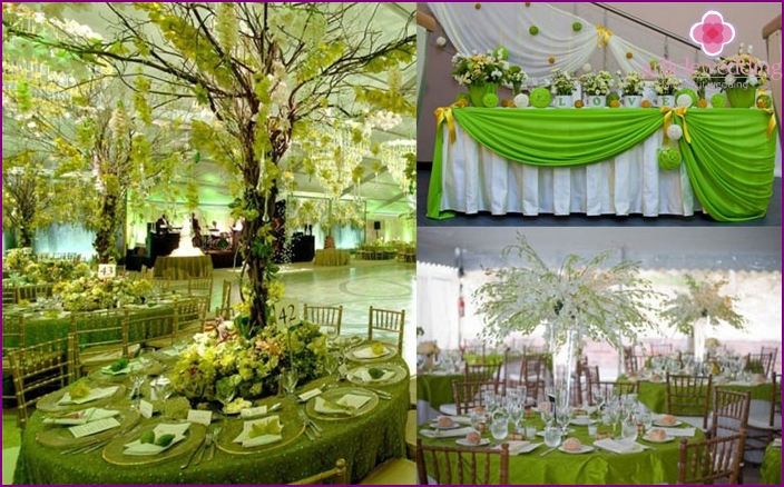Decoration of a green banquet hall
