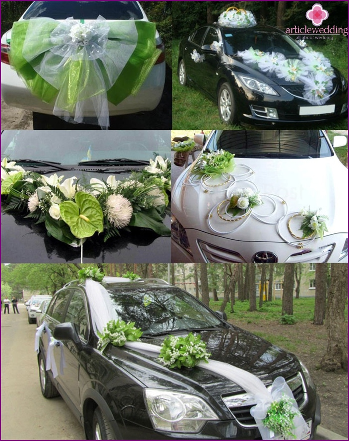 Decoration of cars for a tuple of light green wedding