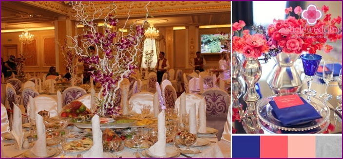 Decoration of wedding tables: purple tones