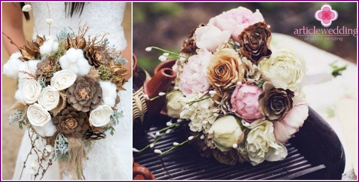 Brown bouquets of the bride