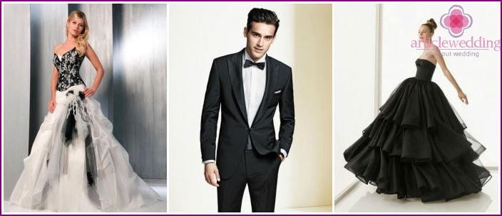 Outfits of the newlyweds for a black wedding