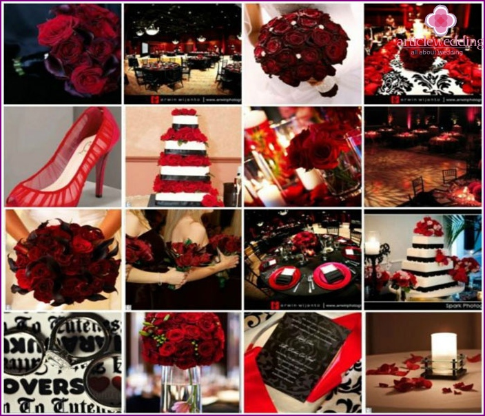 The combination of red and black for the wedding