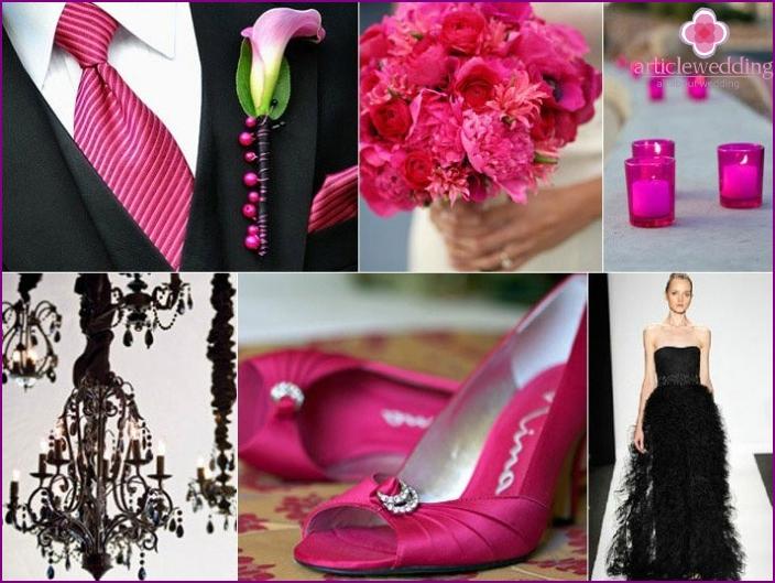 Vaaleanpunainen ja musta hääkoriste