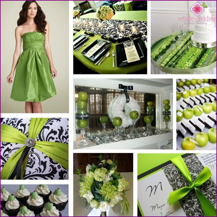 The combination of green and black for the wedding