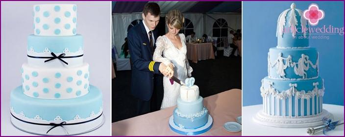 Sky-colored wedding cake