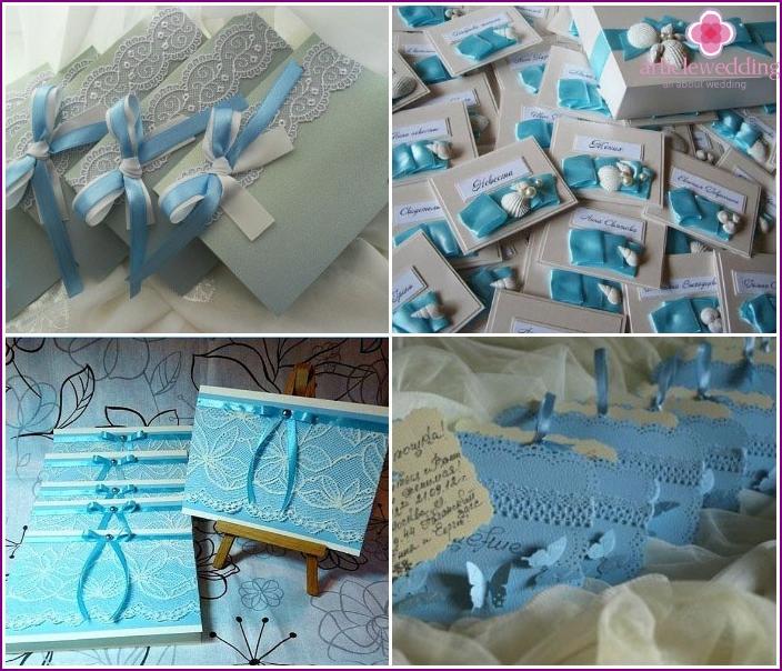 Blaue Hochzeitseinladungen