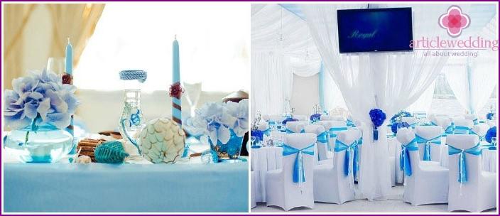 Hochzeitsraum für eine blaue Hochzeit
