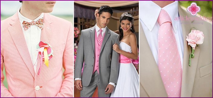 Colored accents in the images of the newlyweds
