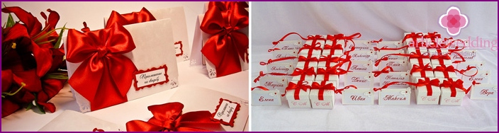 Invitations for guests in white and red colors