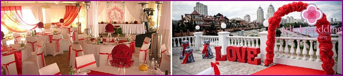 Wedding banquet hall in white and red decoration