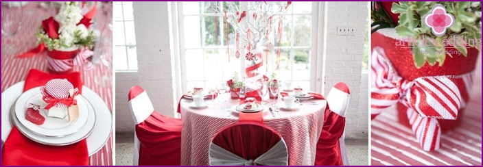 White and red festive table decoration