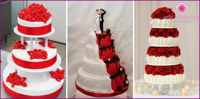 Making wedding cakes in white and red