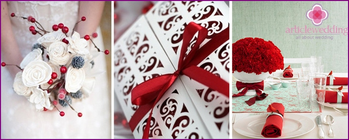 White and Red Wedding Accessories