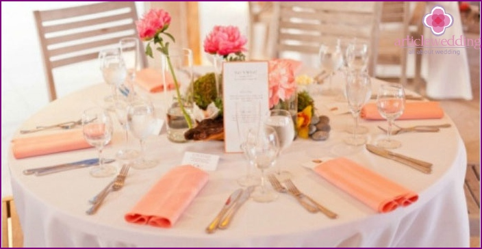 Coral wedding room decoration